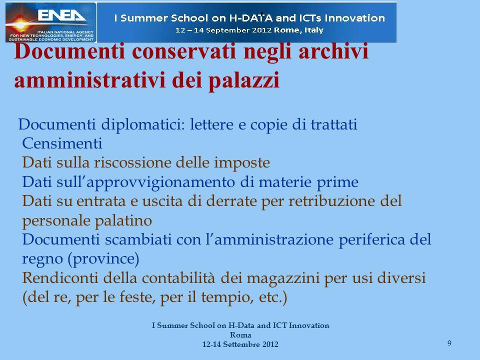 Documenti conservati negli archivi amministrativi dei palazzi 9 I Summer School on H-Data and ICT Innovation Roma 12-14 Settembre 2012 Documenti diplo