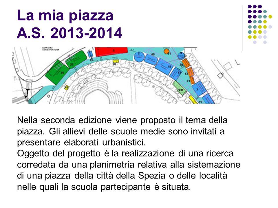 La mia piazza A.S. 2013-2014 Nella seconda edizione viene proposto il tema della piazza. Gli allievi delle scuole medie sono invitati a presentare ela