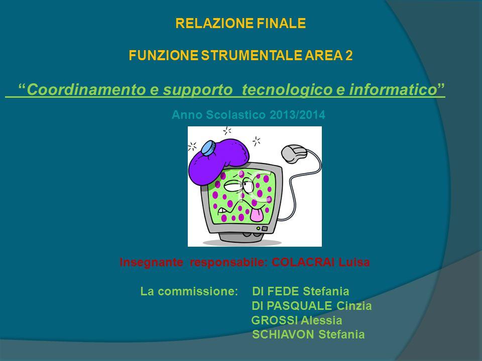 """Anno Scolastico 2013/2014 RELAZIONE FINALE FUNZIONE STRUMENTALE AREA 2 """"Coordinamento e supporto tecnologico e informatico"""" Insegnante responsabile: C"""