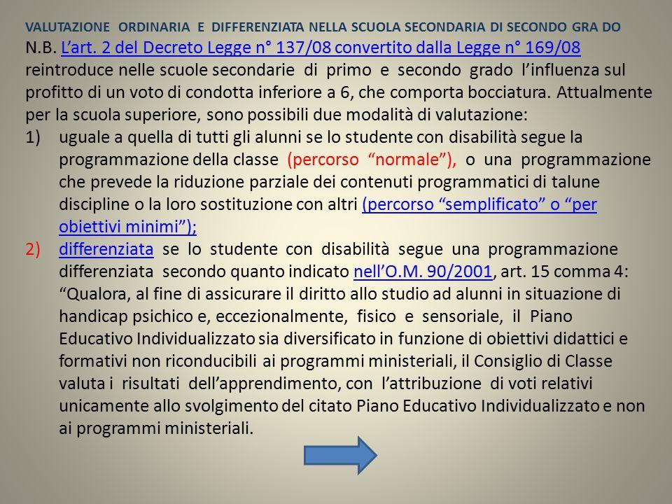 N.B. L'art. 2 del Decreto Legge n° 137/08 convertito dalla Legge n° 169/08 reintroduce nelle scuole secondarie di primo e secondo grado l'influenza su