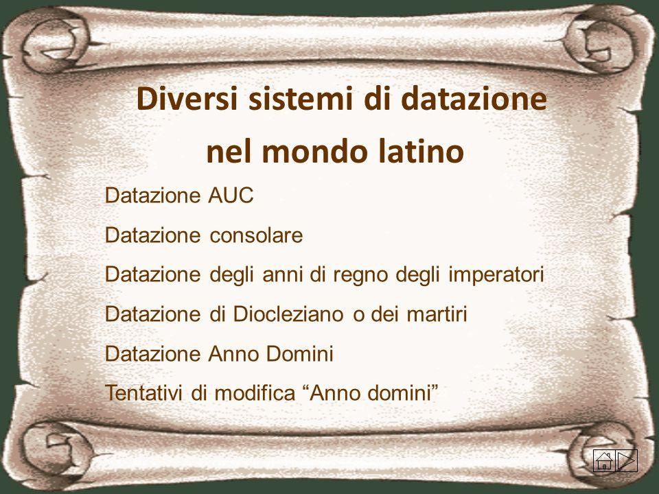 Diversi sistemi di datazione nel mondo latino Datazione AUC Datazione consolare Datazione degli anni di regno degli imperatori Datazione di Dioclezian