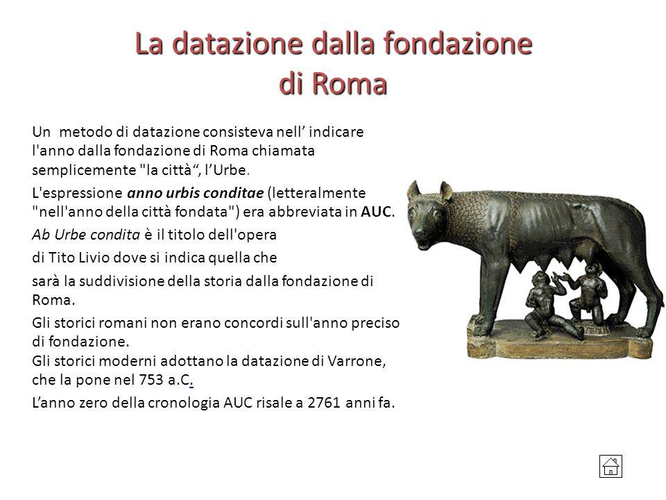 La datazione dalla fondazione di Roma Un metodo di datazione consisteva nell' indicare l'anno dalla fondazione di Roma chiamata semplicemente