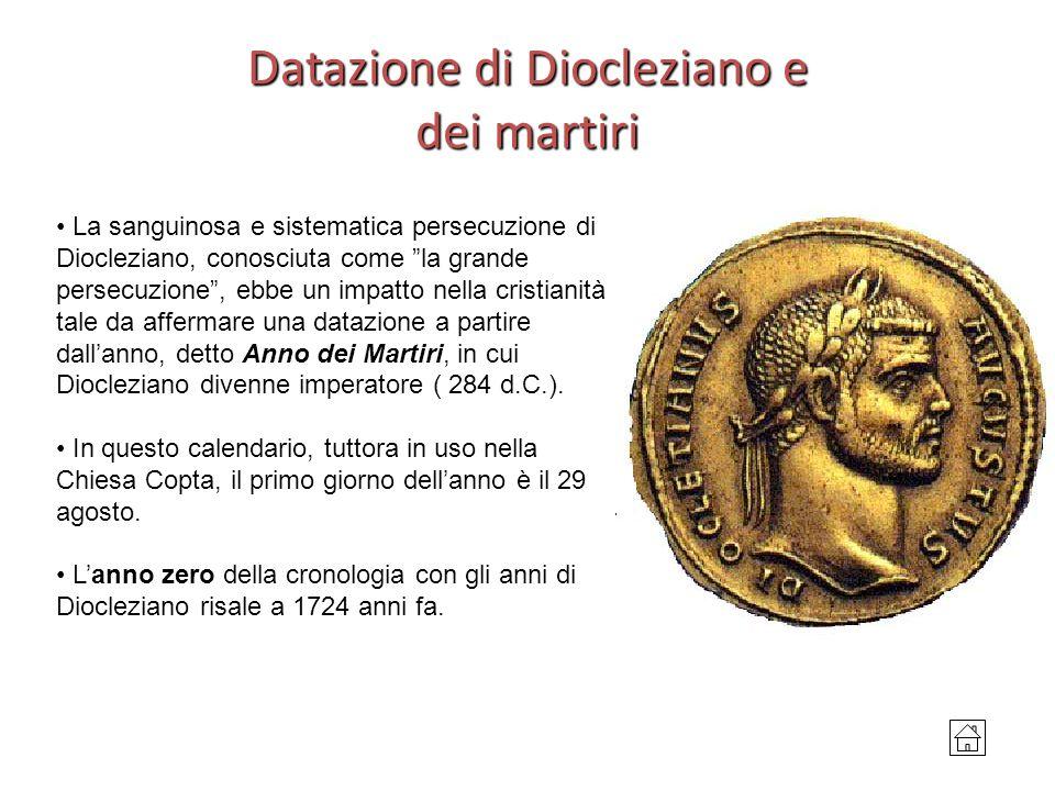 """Datazione di Diocleziano e dei martiri La sanguinosa e sistematica persecuzione di Diocleziano, conosciuta come """"la grande persecuzione"""", ebbe un impa"""