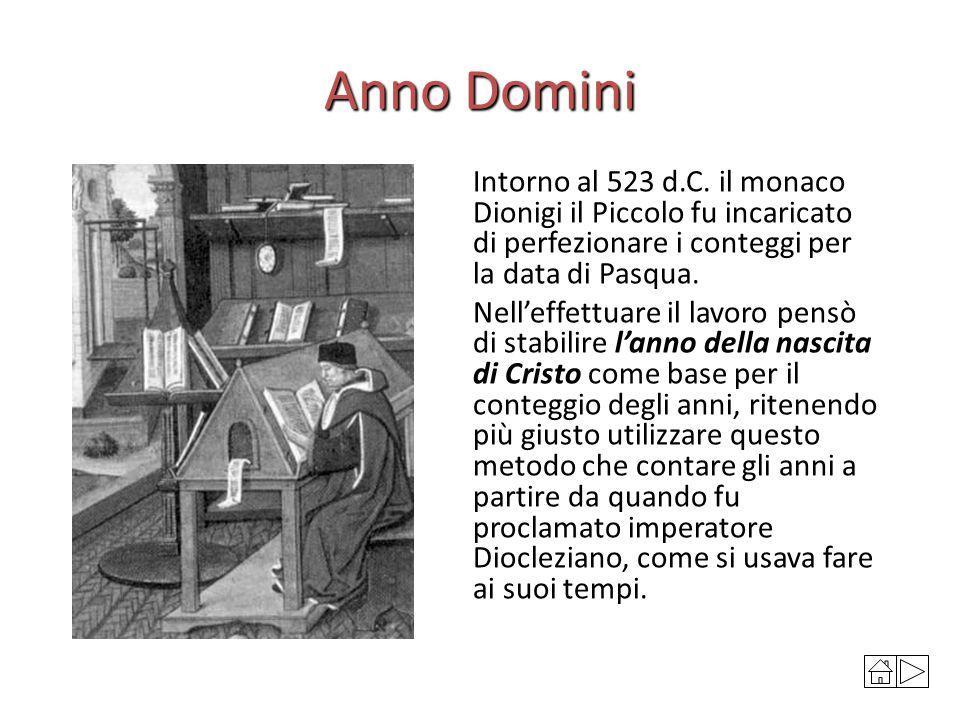 Anno Domini Intorno al 523 d.C. il monaco Dionigi il Piccolo fu incaricato di perfezionare i conteggi per la data di Pasqua. Nell'effettuare il lavoro