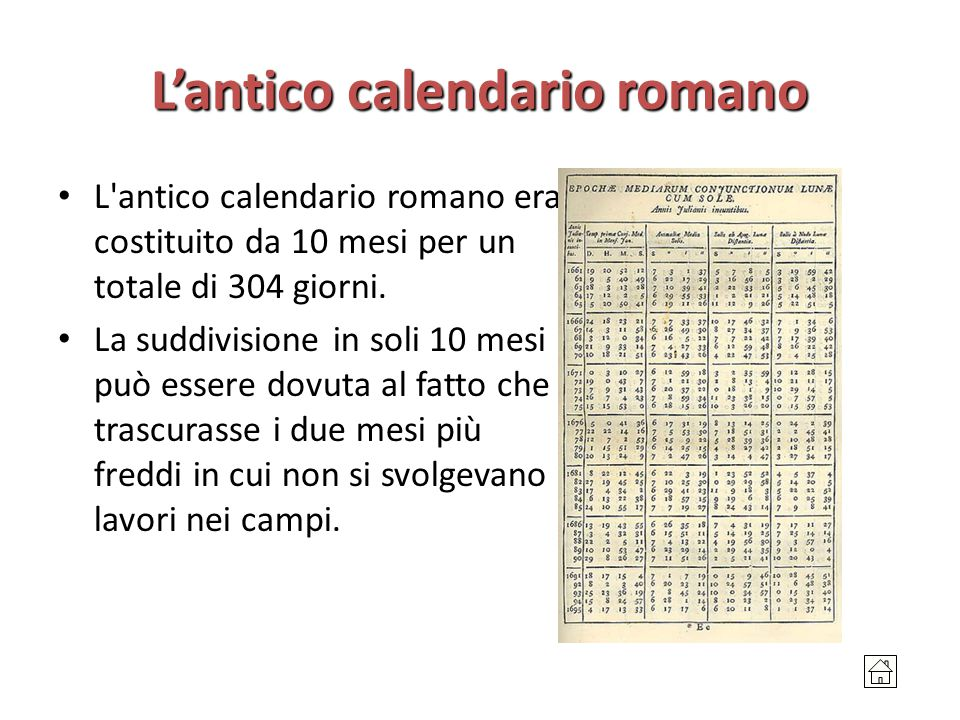 L'antico calendario romano L'antico calendario romano era costituito da 10 mesi per un totale di 304 giorni. La suddivisione in soli 10 mesi può esser