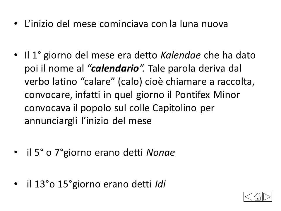 """L'inizio del mese cominciava con la luna nuova Il 1° giorno del mese era detto Kalendae che ha dato poi il nome al """"calendario"""". Tale parola deriva da"""
