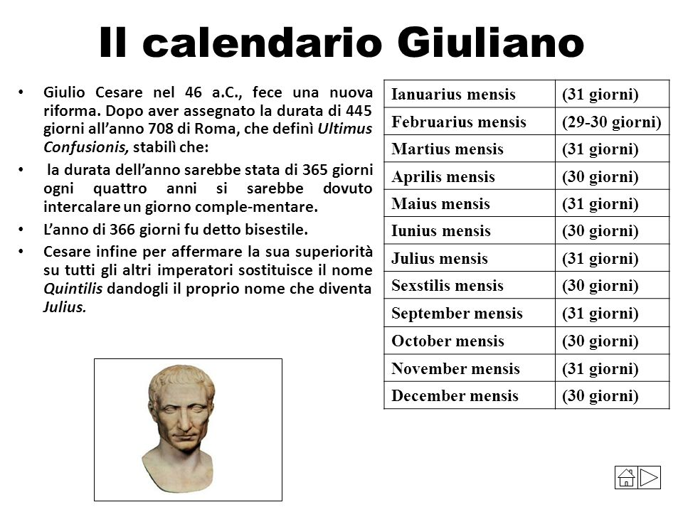 Il calendario Giuliano Giulio Cesare nel 46 a.C., fece una nuova riforma. Dopo aver assegnato la durata di 445 giorni all'anno 708 di Roma, che definì