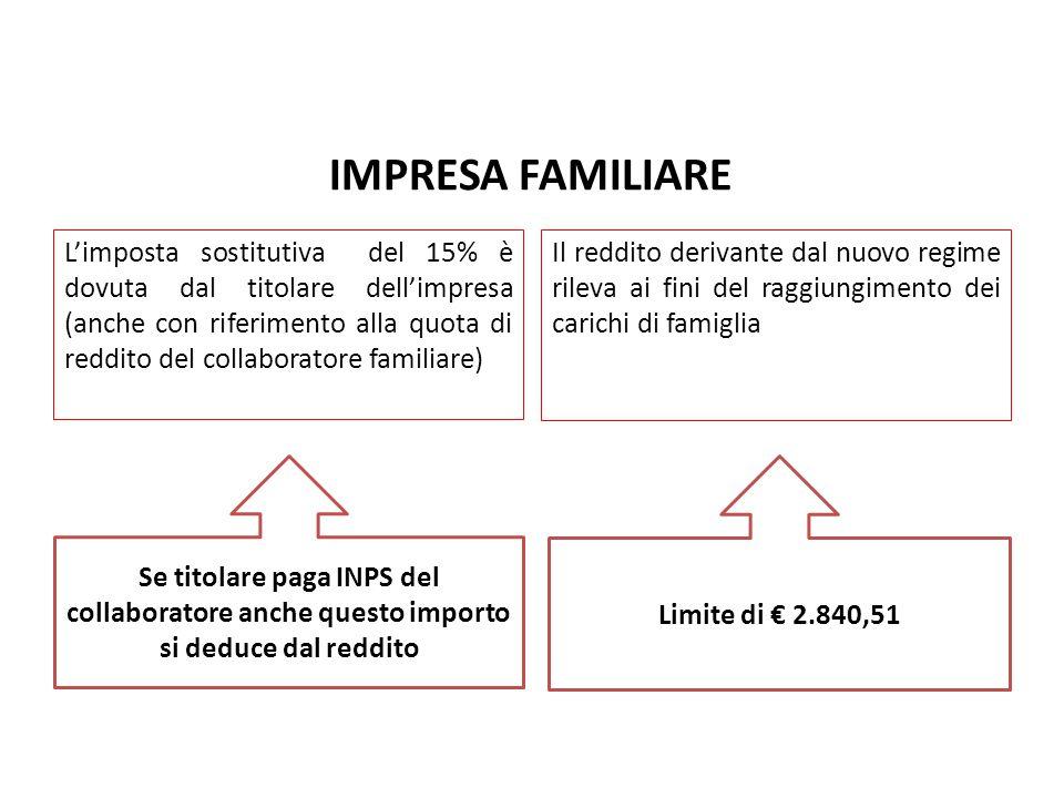 IMPRESA FAMILIARE L'imposta sostitutiva del 15% è dovuta dal titolare dell'impresa (anche con riferimento alla quota di reddito del collaboratore fami