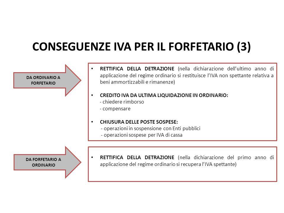 CONSEGUENZE IVA PER IL FORFETARIO (3) Nuovo Regime Forfetario pag. DA ORDINARIO A FORFETARIO RETTIFICA DELLA DETRAZIONE (nella dichiarazione dell'ulti