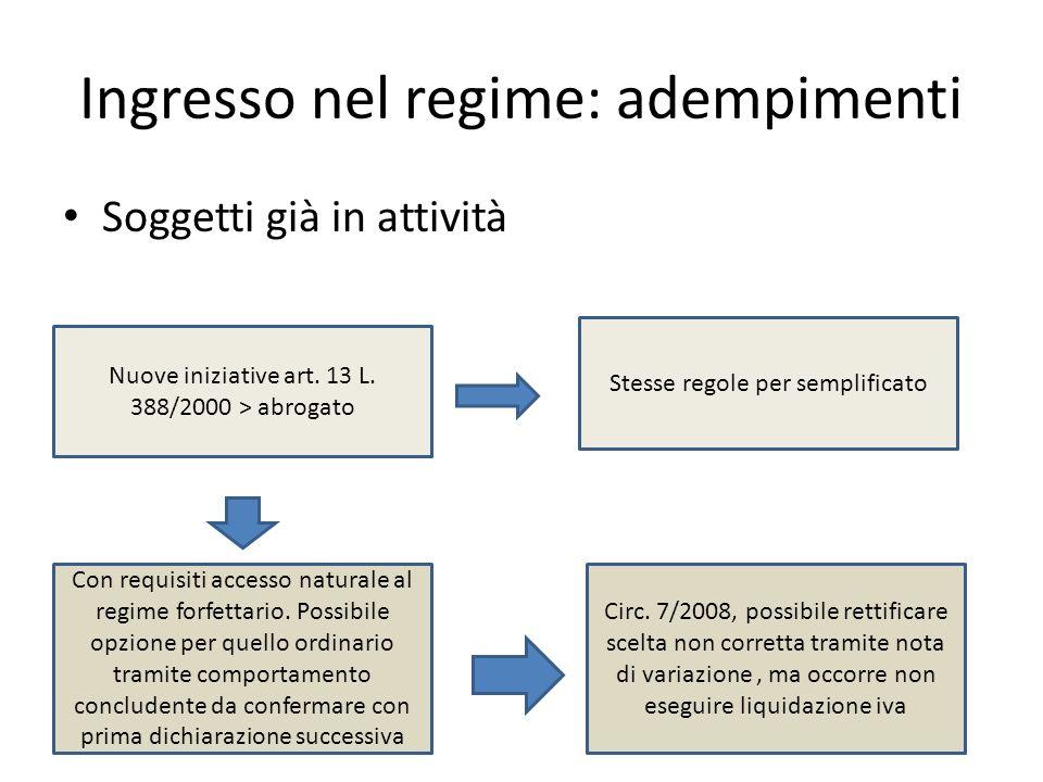 Ingresso nel regime: adempimenti Soggetti già in attività Nuove iniziative art. 13 L. 388/2000 > abrogato Con requisiti accesso naturale al regime for
