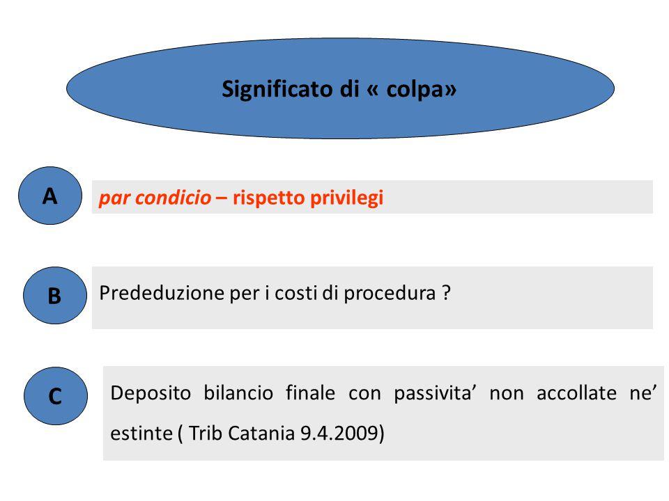 Prededuzione per i costi di procedura ? par condicio – rispetto privilegi A B Significato di « colpa» argomento C Deposito bilancio finale con passivi