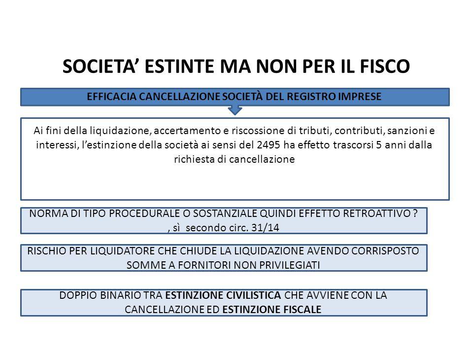 Ai fini della liquidazione, accertamento e riscossione di tributi, contributi, sanzioni e interessi, l'estinzione della società ai sensi del 2495 ha e