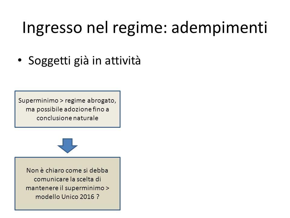 Ingresso nel regime: adempimenti Soggetti già in attività Superminimo > regime abrogato, ma possibile adozione fino a conclusione naturale Non è chiar