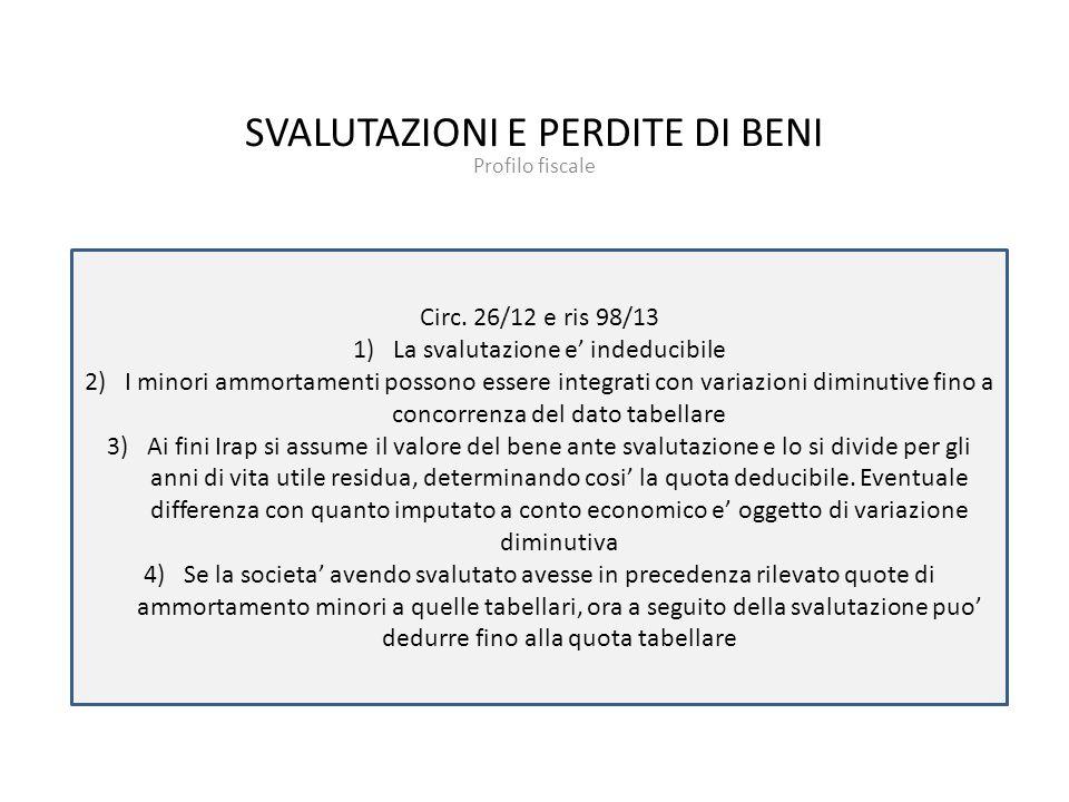 SVALUTAZIONI E PERDITE DI BENI Profilo fiscale Circ.
