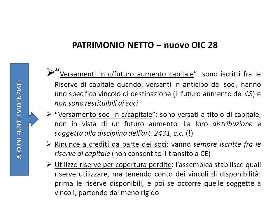 """PATRIMONIO NETTO – nuovo OIC 28  """" Versamenti in c/futuro aumento capitale"""": sono iscritti fra le Riserve di capitale quando, versanti in anticipo da"""