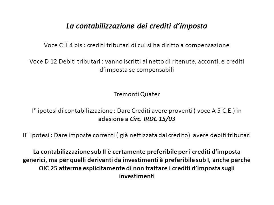 La contabilizzazione dei crediti d'imposta Voce C II 4 bis : crediti tributari di cui si ha diritto a compensazione Voce D 12 Debiti tributari : vanno