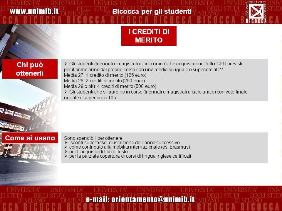 Le librerie Cortina, Franco Angeli e Emmedue adiacenti all'Ateneo offrono agli studenti di Milano Bicocca uno sconto sui libri di testo pari a circa il 15% (a seconda delle convenzioni con le case editrici).