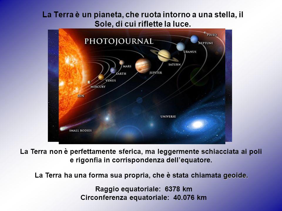 La Terra è un pianeta, che ruota intorno a una stella, il Sole, di cui riflette la luce. La Terra non è perfettamente sferica, ma leggermente schiacci