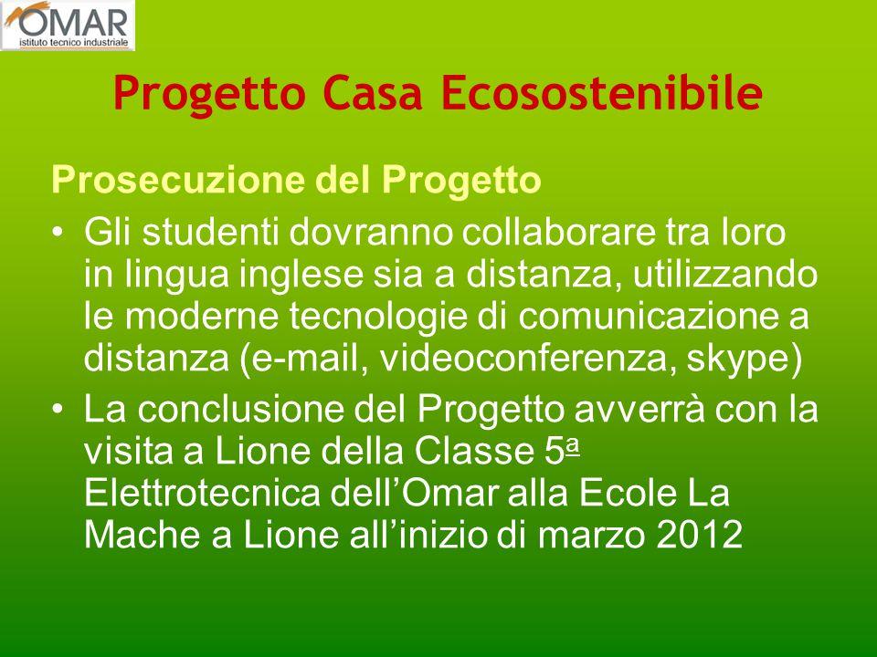 Progetto Casa Ecosostenibile Prosecuzione del Progetto Gli studenti dovranno collaborare tra loro in lingua inglese sia a distanza, utilizzando le mod