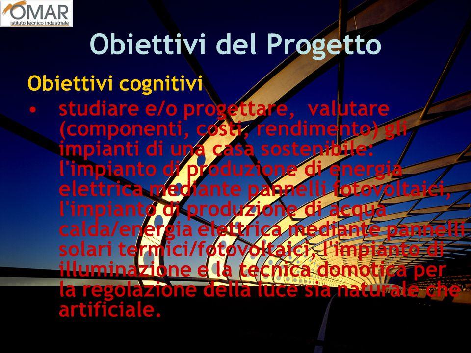 Obiettivi del Progetto Obiettivi cognitivi studiare e/o progettare, valutare (componenti, costi, rendimento) gli impianti di una casa sostenibile: l'i