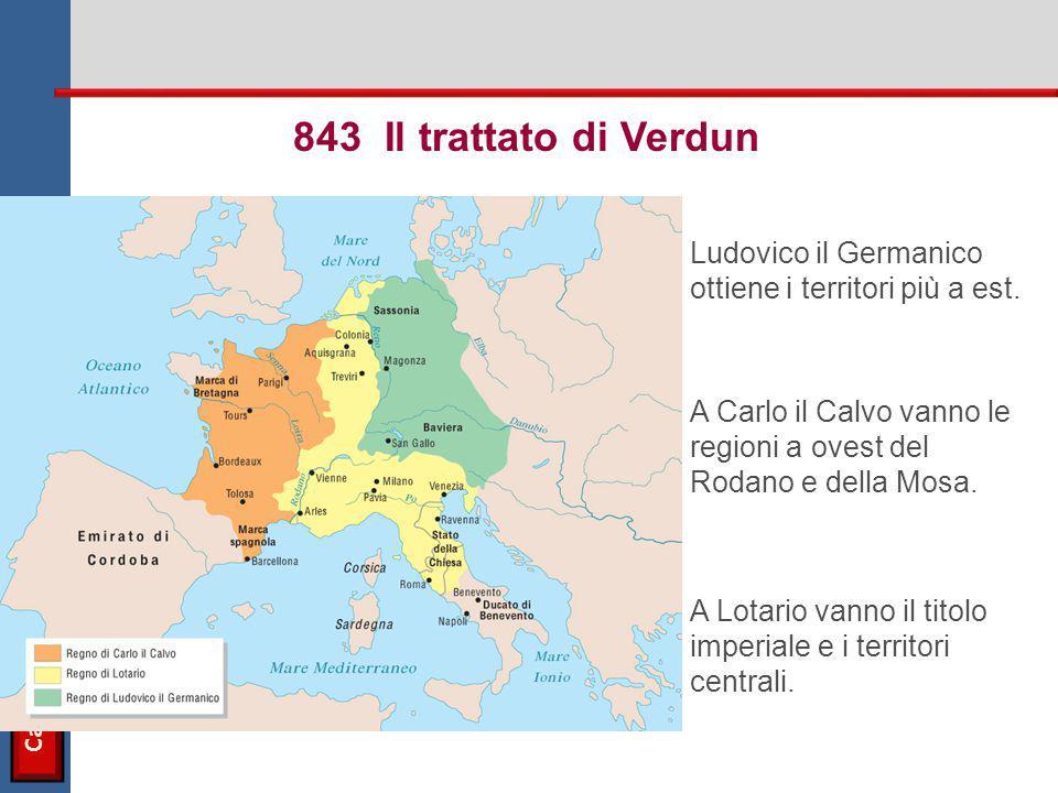 Carlo Magno Ludovico il Germanico ottiene i territori più a est. 843 Il trattato di Verdun A Carlo il Calvo vanno le regioni a ovest del Rodano e dell