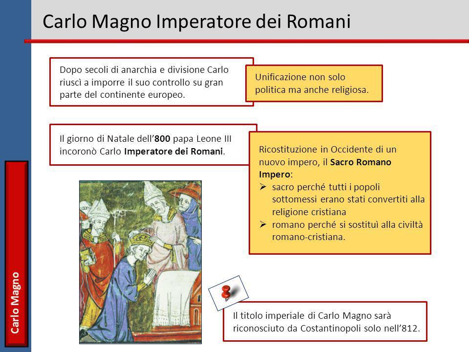 Carlo Magno Carlo Magno Imperatore dei Romani Dopo secoli di anarchia e divisione Carlo riuscì a imporre il suo controllo su gran parte del continente