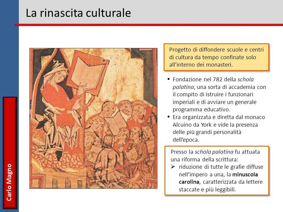 Carlo Magno La rinascita culturale Presso la schola palatina fu attuata una riforma della scrittura:  riduzione di tutte le grafie diffuse nell'imper