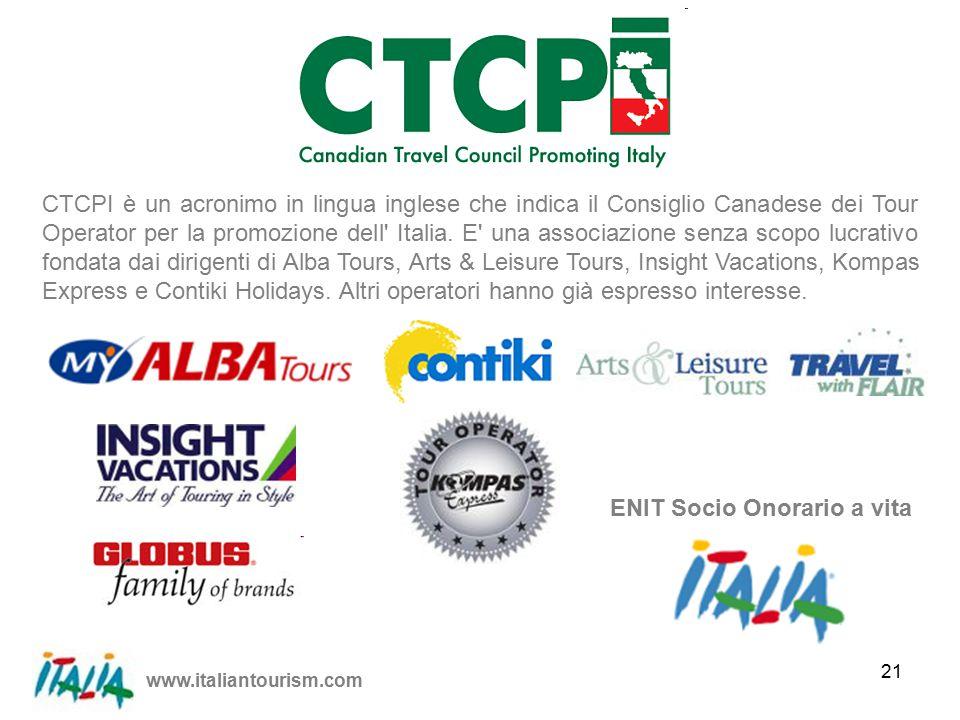 www.italiantourism.com 21 CTCPI è un acronimo in lingua inglese che indica il Consiglio Canadese dei Tour Operator per la promozione dell Italia.