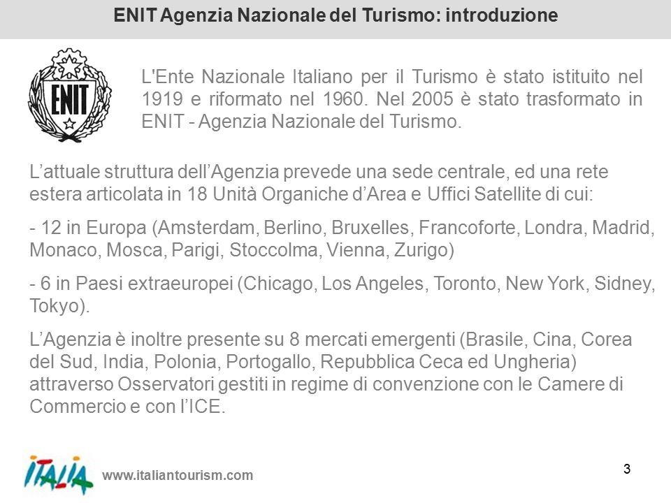 www.italiantourism.com 3 ENIT Agenzia Nazionale del Turismo: introduzione L Ente Nazionale Italiano per il Turismo è stato istituito nel 1919 e riformato nel 1960.