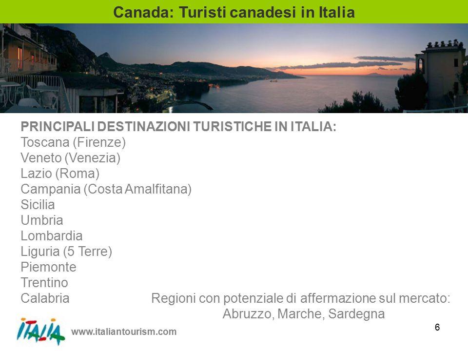 www.italiantourism.com 7 Canada: Collegamenti aerei con l'Italia VOLI DIRETTI ALITALIA - Toronto AIR CANADA - Toronto & Montreal AIR TRANSAT - Montreal SKYSERVICE - Toronto ZOOM AIRLINES - Toronto & Montreal VOLI NON DIRETTI AIR FRANCE - Toronto & Montreal BRITISH AIRWAYS - Toronto KLM - Toronto LUFTHANSA - Toronto SWISS - Montreal MALEV - Toronto CZECH AIRLINES - Toronto