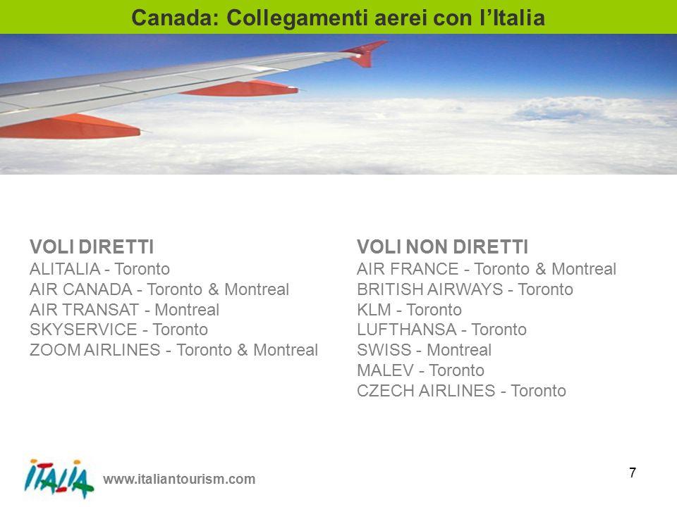 www.italiantourism.com 8 13 52 1 10 8 Tour Operators Canadesi con prodotto Italia Totale 84