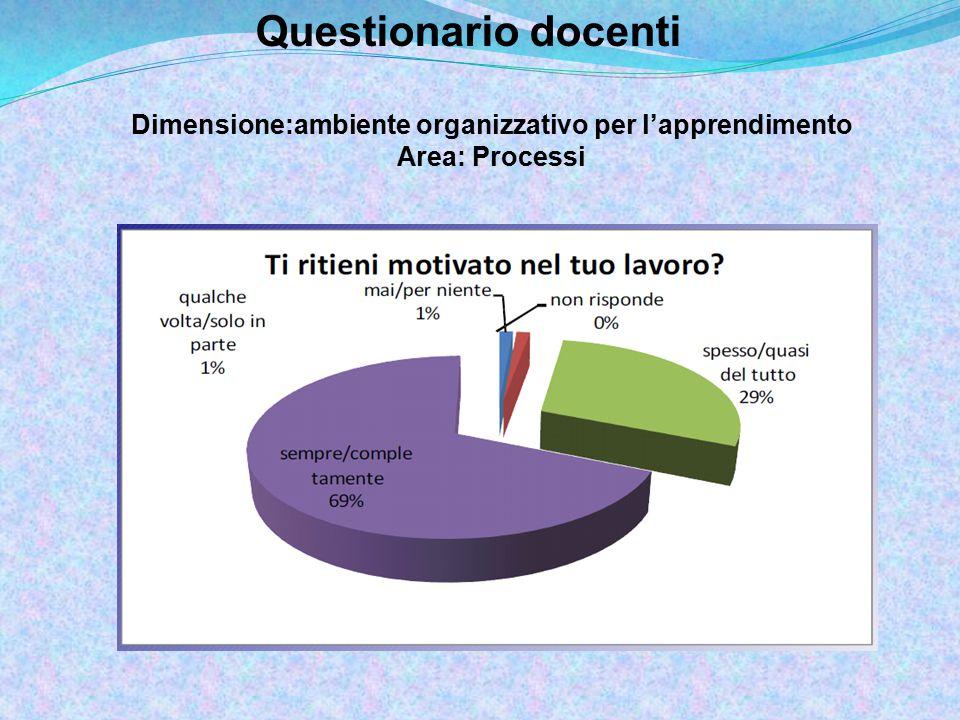 Questionario docenti Dimensione:ambiente organizzativo per l'apprendimento Area: Processi