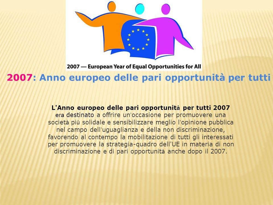 L Anno europeo delle pari opportunit à per tutti 2007 era destinato a offrire un ' occasione per promuovere una societ à pi ù solidale e sensibilizzare meglio l ' opinione pubblica nel campo dell ' uguaglianza e della non discriminazione, favorendo al contempo la mobilitazione di tutti gli interessati per promuovere la strategia-quadro dell UE in materia di non discriminazione e di pari opportunit à anche dopo il 2007.