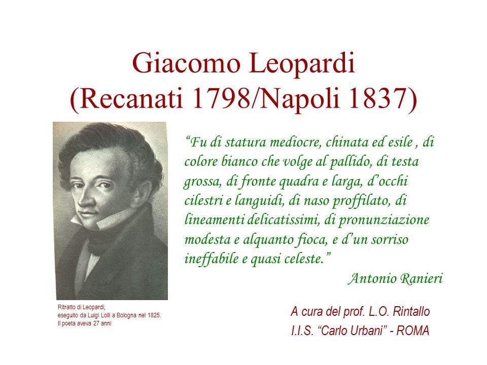"""Giacomo Leopardi (Recanati 1798/Napoli 1837) A cura del prof. L.O. Rintallo I.I.S. """"Carlo Urbani"""" - ROMA Ritratto di Leopardi, eseguito da Luigi Lolli"""