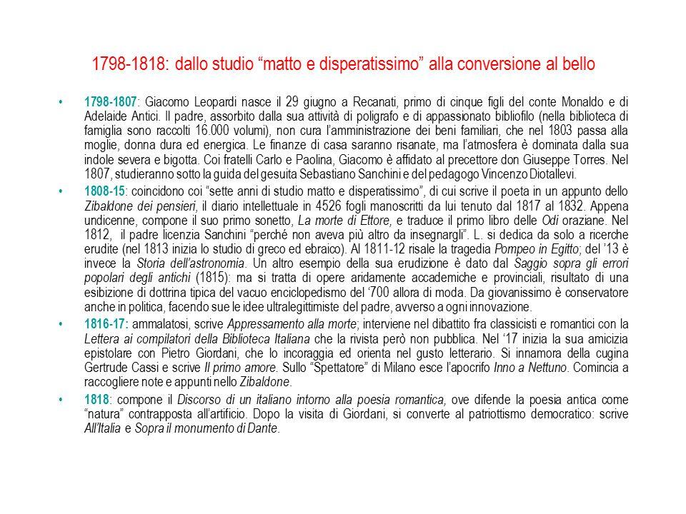 """1798-1818: dallo studio """"matto e disperatissimo"""" alla conversione al bello 1798-1807 : Giacomo Leopardi nasce il 29 giugno a Recanati, primo di cinque"""