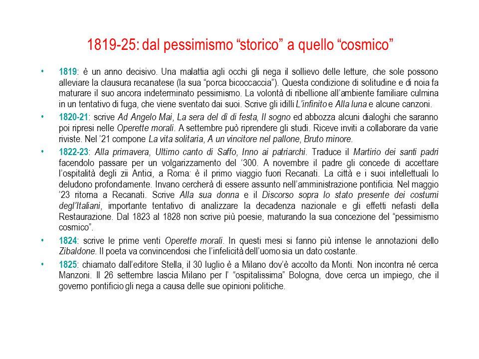 """1819-25: dal pessimismo """"storico"""" a quello """"cosmico"""" 1819 : è un anno decisivo. Una malattia agli occhi gli nega il sollievo delle letture, che sole p"""