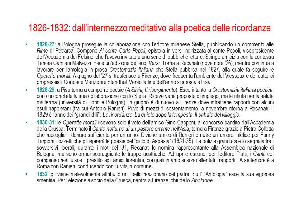 1826-1832: dall'intermezzo meditativo alla poetica delle ricordanze 1826-27 : a Bologna prosegue la collaborazione con l'editore milanese Stella, pubb