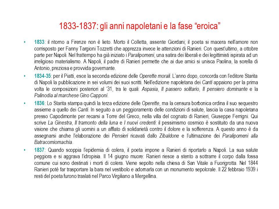 """1833-1837: gli anni napoletani e la fase """"eroica"""" 1833 : il ritorno a Firenze non è lieto. Morto il Colletta, assente Giordani; il poeta si macera nel"""