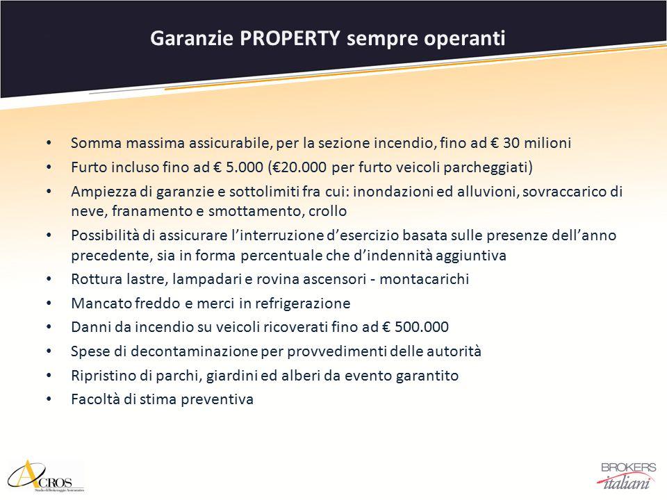 Somma massima assicurabile, per la sezione incendio, fino ad € 30 milioni Furto incluso fino ad € 5.000 (€20.000 per furto veicoli parcheggiati) Ampie