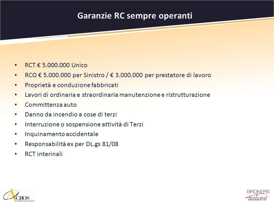 RCT € 5.000.000 Unico RCO € 5.000.000 per Sinistro / € 3.000.000 per prestatore di lavoro Proprietà e conduzione fabbricati Lavori di ordinaria e stra
