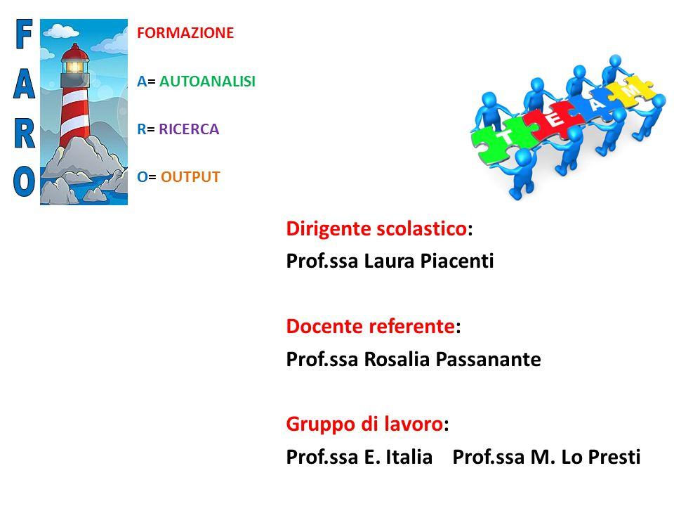 FORMAZIONE A= AUTOANALISI R= RICERCA O= OUTPUT Dirigente scolastico: Prof.ssa Laura Piacenti Docente referente: Prof.ssa Rosalia Passanante Gruppo di