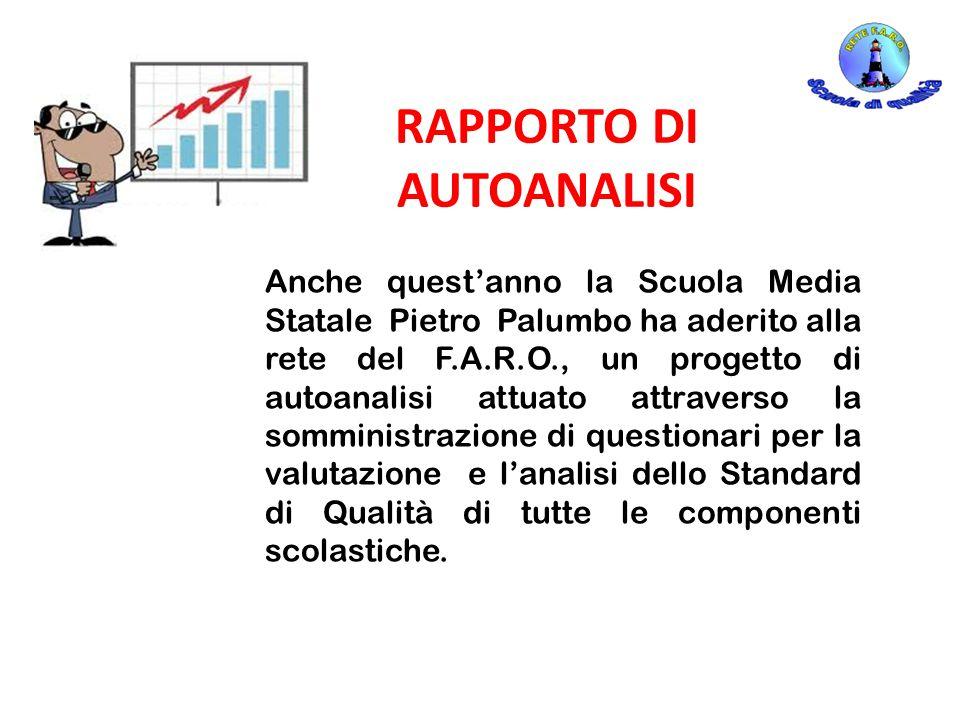 RAPPORTO DI AUTOANALISI Anche quest'anno la Scuola Media Statale Pietro Palumbo ha aderito alla rete del F.A.R.O., un progetto di autoanalisi attuato