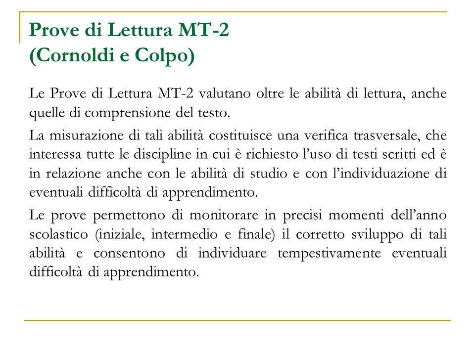 Prove di Lettura MT-2 (Cornoldi e Colpo) Caratteristiche chiave Facilità di somministrazione e costruzione delle prove con materiali fotocopiabili.