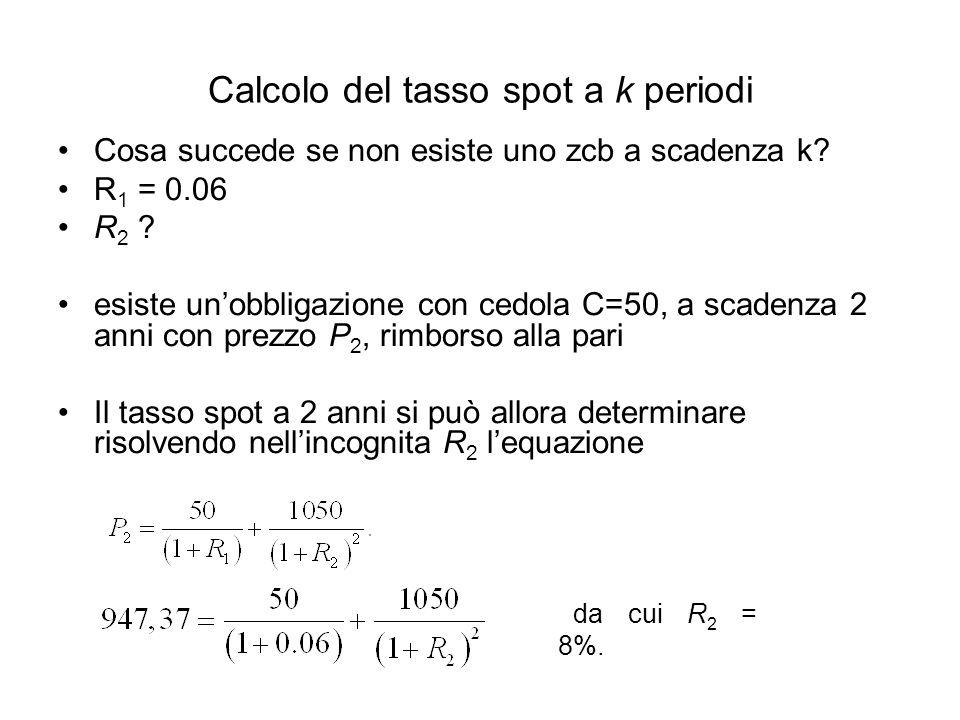 Calcolo del tasso spot a k periodi Cosa succede se non esiste uno zcb a scadenza k? R 1 = 0.06 R 2 ? esiste un'obbligazione con cedola C=50, a scadenz