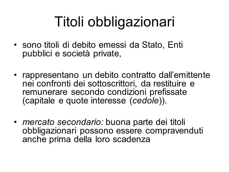 sono titoli di debito emessi da Stato, Enti pubblici e società private, rappresentano un debito contratto dall'emittente nei confronti dei sottoscritt