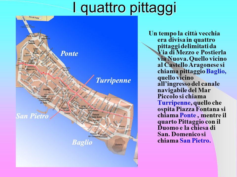 I quattro pittaggi Un tempo la città vecchia era divisa in quattro pittaggi delimitati da Via di Mezzo e Postierla via Nuova.
