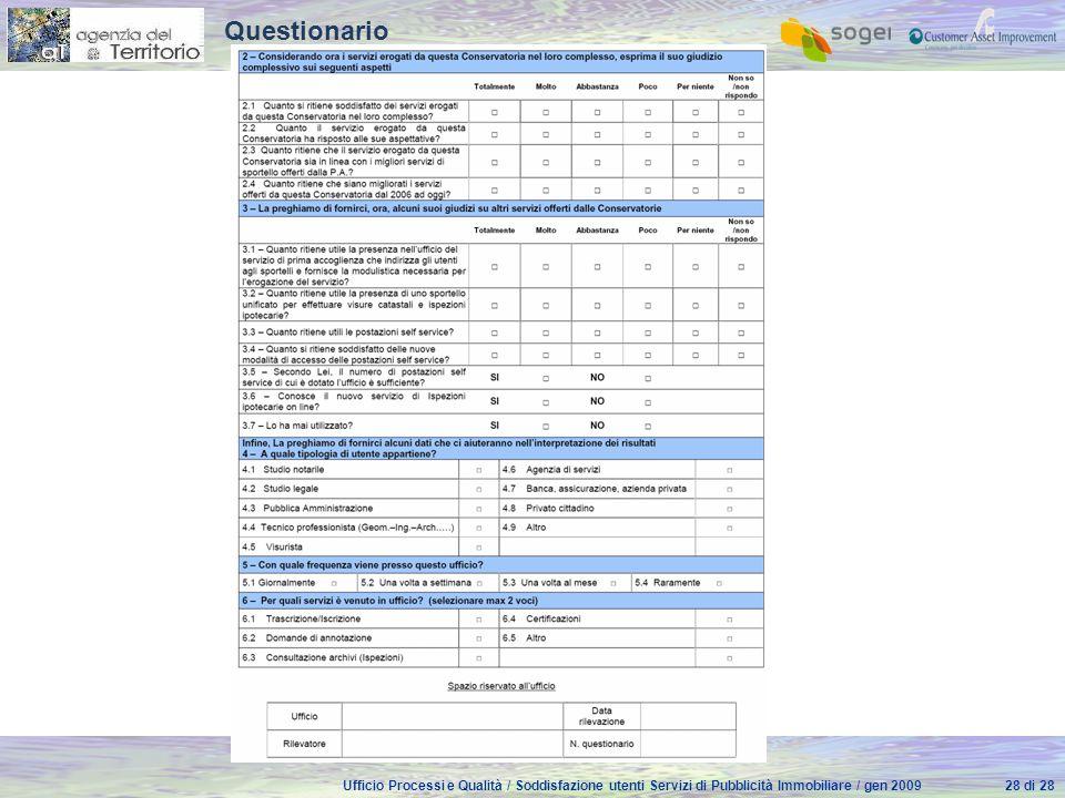 Ufficio Processi e Qualità / Soddisfazione utenti Servizi di Pubblicità Immobiliare / gen 200928 di 28 Questionario