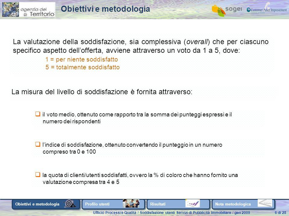 Ufficio Processi e Qualità / Soddisfazione utenti Servizi di Pubblicità Immobiliare / gen 200927 di 28 Questionario
