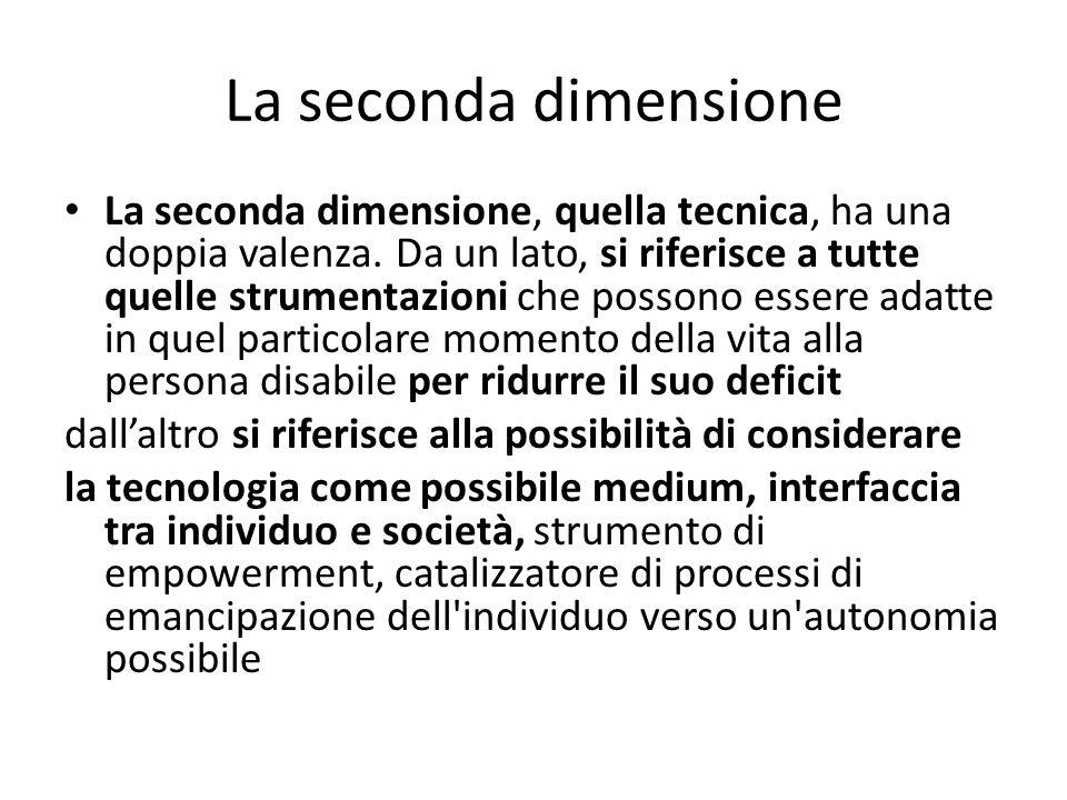 La seconda dimensione La seconda dimensione, quella tecnica, ha una doppia valenza. Da un lato, si riferisce a tutte quelle strumentazioni che possono