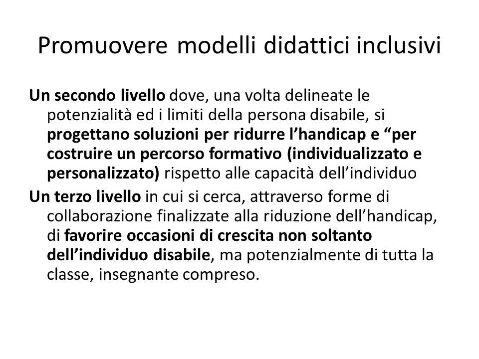 Promuovere modelli didattici inclusivi Un secondo livello dove, una volta delineate le potenzialità ed i limiti della persona disabile, si progettano